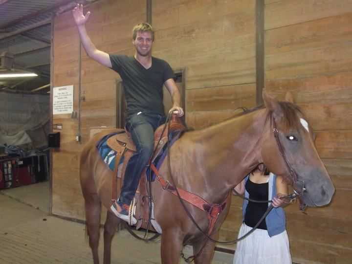 Tom Bourlet riding a horse