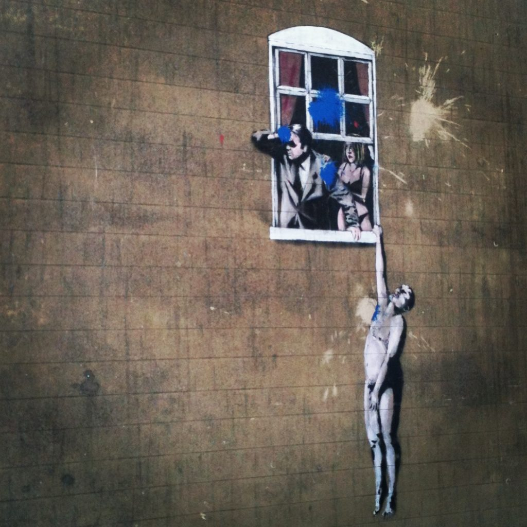 Banksy in Bristol window scene